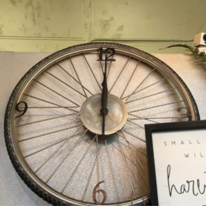 photo of Spokes Antiqued Silver Champagne Bicycle Tire Wall Clock on shopiowa.com