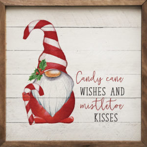Candy Cane Wishes - Gnome - Kendrick Home Wood Sign