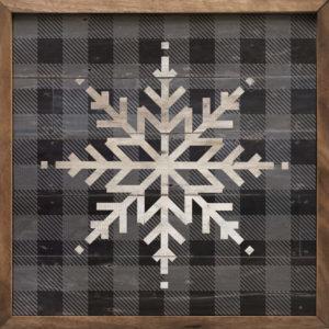 Gray Plaid Snowflake - Kendrick Home Wood Sign on shopiowa.com