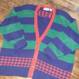 Vintage Sportables Plus Colorful Oversized Unisex Cardigan Sweater Size 2X