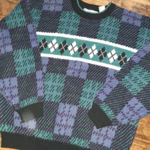 Vintage Michael Gerald Colorful Geometric Oversized Unisex Sweater Size Large
