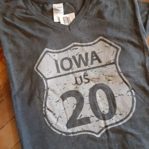 Historic US Route 20 Iowa V Neck T-Shirt on Shop Iowa