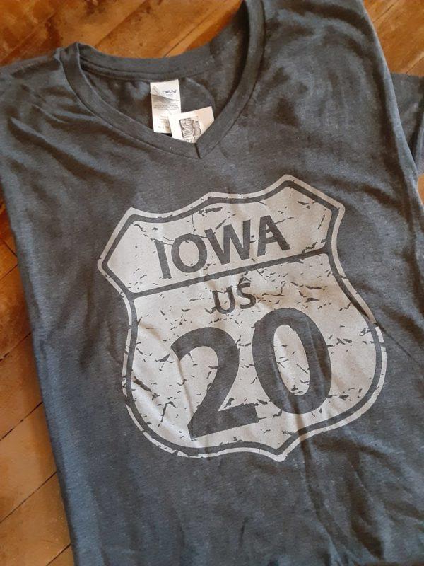 Historic US Route 20 Iowa V Neck T-Shirt on Shop Iowa