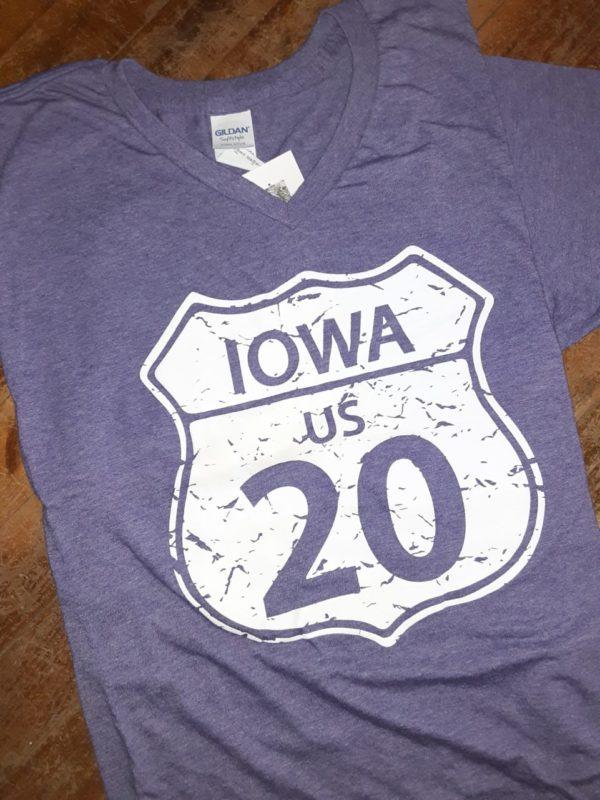 Historic US Route 20 Iowa V Neck T-Shirt