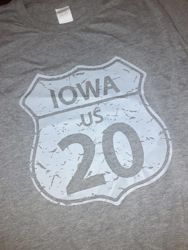 Historic US Route 20 Iowa Crew Neck T-Shirt