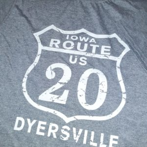Historic US Route 20 Dyersville, Iowa Crew Neck T-Shirt