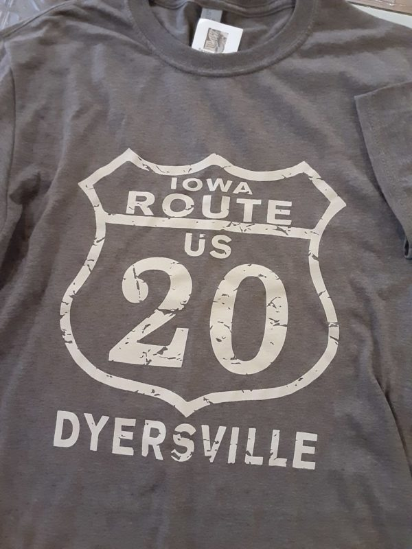 Historic US Route 20 Dyersville, Iowa Crew Neck T-Shirt