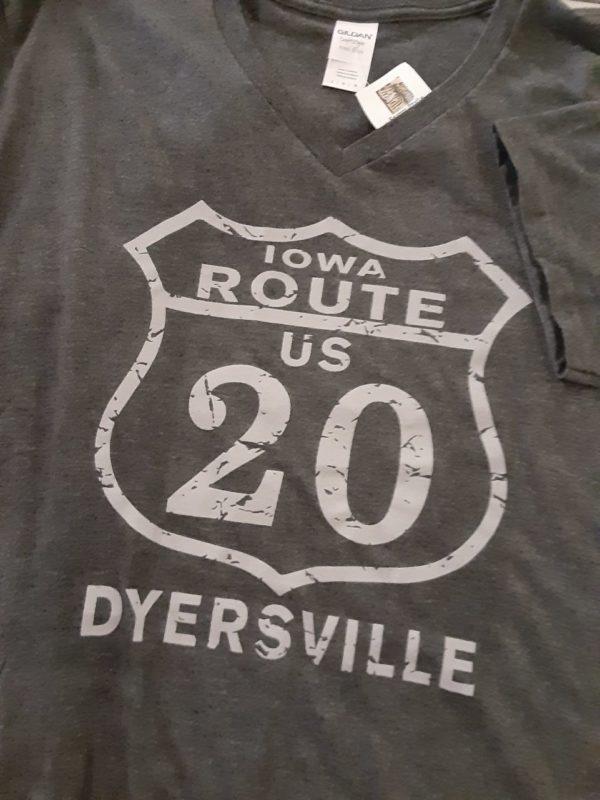 Historic US Route 20 Dyersville, Iowa V Neck T-Shirt