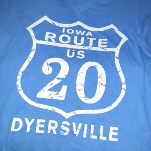 Historic US Route 20 Dyersville, Iowa V Neck T-Shirt