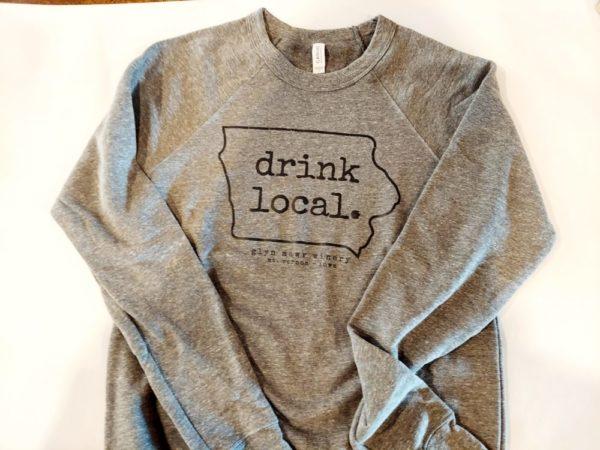 Photo of Drink Local Sweatshirt, Glyn Mawr Winery, The Local, Shop Iowa