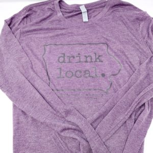 photo of Drink Local Sweatshirt, Glyn Mawr Winery, The Local, Shop Iowa