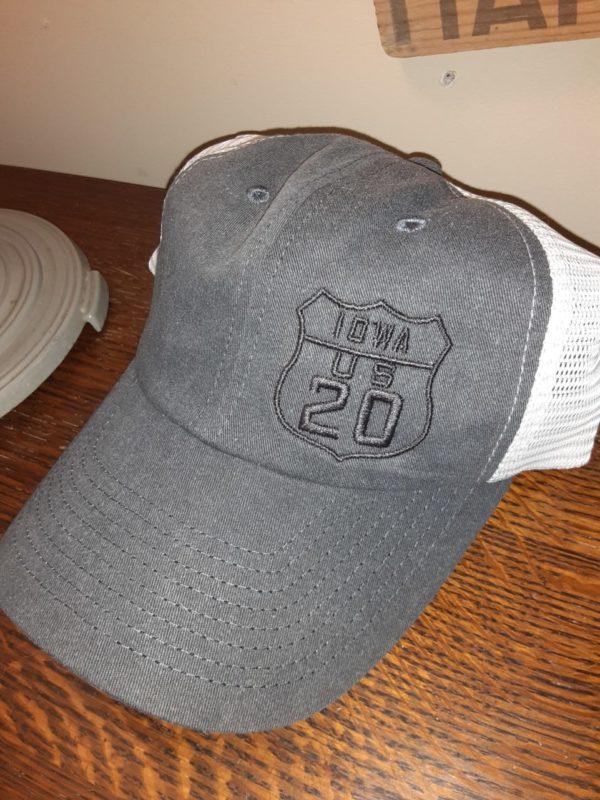 Historic US Route 20 Iowa Mesh Snap Back Trucker Hat