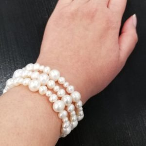 Fresh water pearl and sterling silver three strand bracelet on Shop Iowa, Wedding