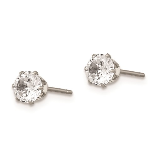 5 MM clear cubic zirconia stainless steel earrings