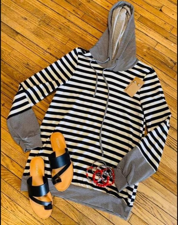 Woman's Black & White Striped Hoodie