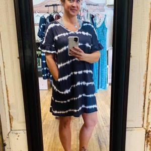 Woman's Black & White Tie-Dye Dress