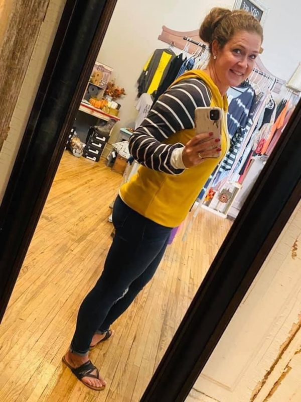 Woman's Mustard Hoodie with Striped Sleeves