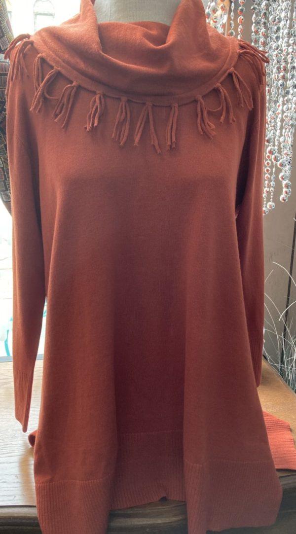 Spice colored cowl neck tunic on Shop Iowa