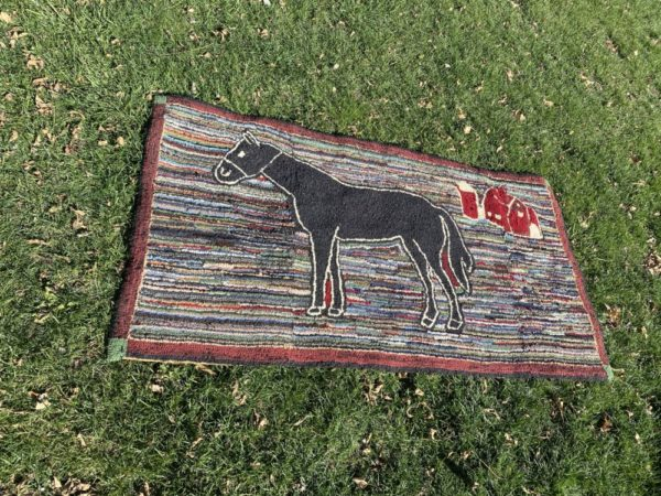 Antique 1800's Hand Hooked Rug Featuring Horse and Barn