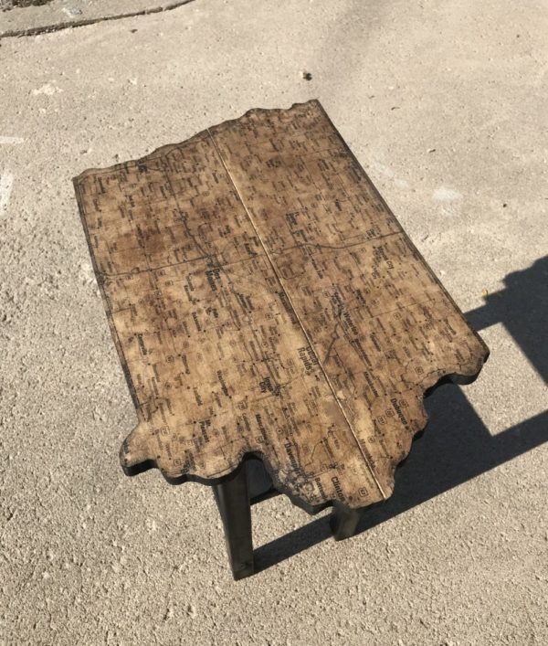 Iowa Map End Table