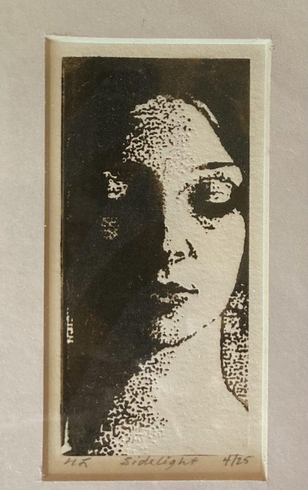 Side Light Girl Relief Print Framed