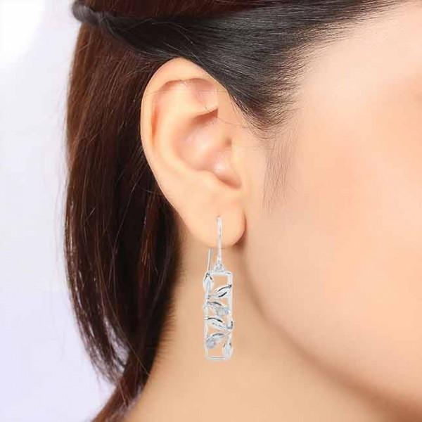 Labradorite gemstone and sterling silver leaf column dangle earrings