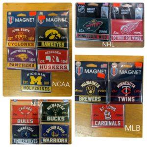 NCAA, MLB, NHL, NBA team magnets