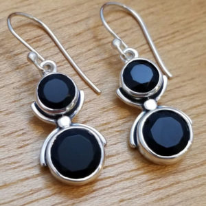 black onyx and sterling silver two stone dangle earrings