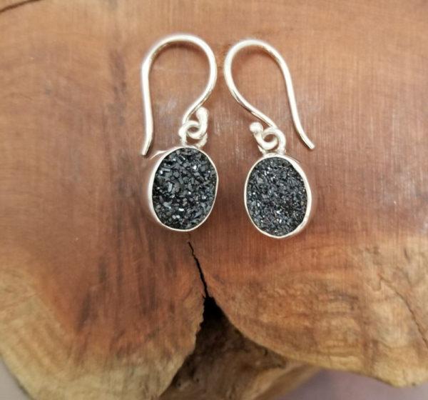 black quartz druzy and sterling silver dangle earrings
