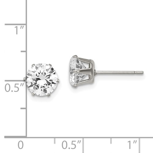 7 MM clear cubic zirconia stainless steel round stud earrings