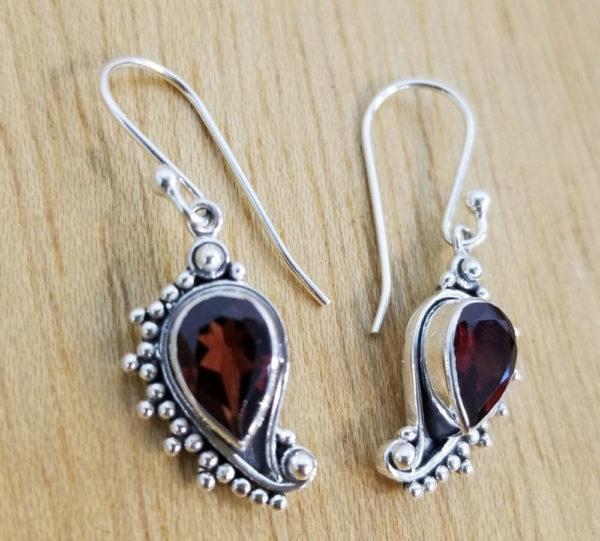 garnet, sterling silver paisley inspired earrings