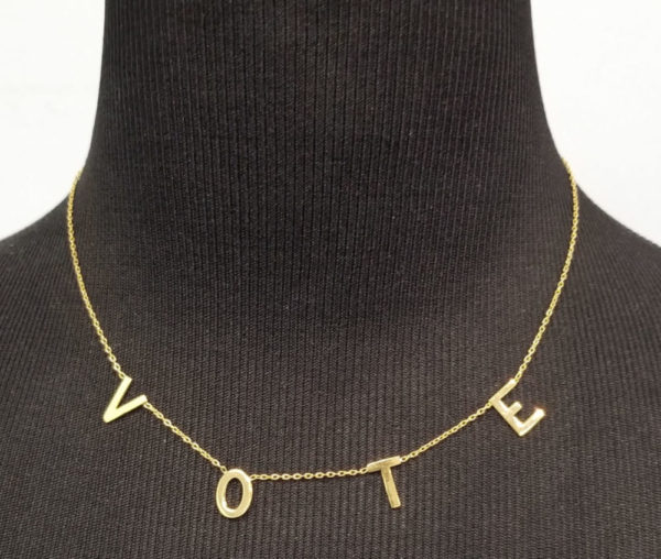 18K yellow gold-plated sterling silver VOTE necklace