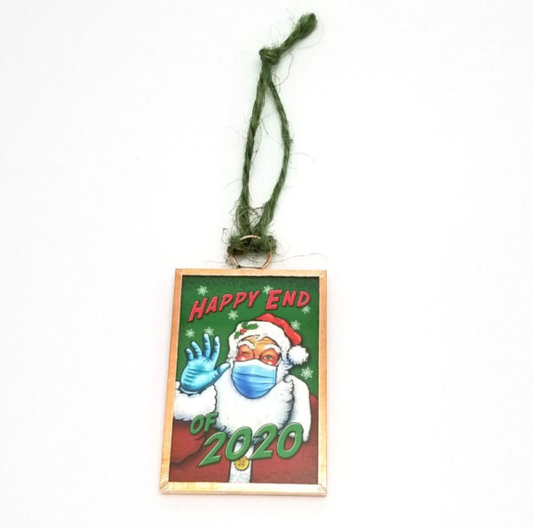 Happy End of 2020 Christmas ornament with Santa in a mask