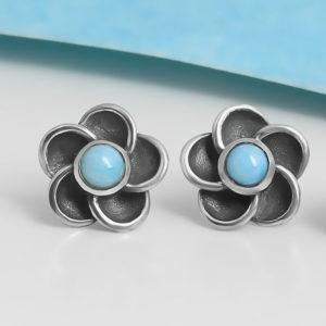 light blue larimar gemstone and sterling silver flower post earrings