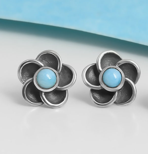 light blue larimar gemstone and sterling silver flower post earrings