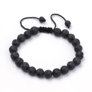 Black Lava Rock Bracelet adjusts to fit both men and women