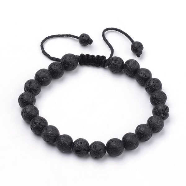 Black lava rock bracelet that adjusts to fit