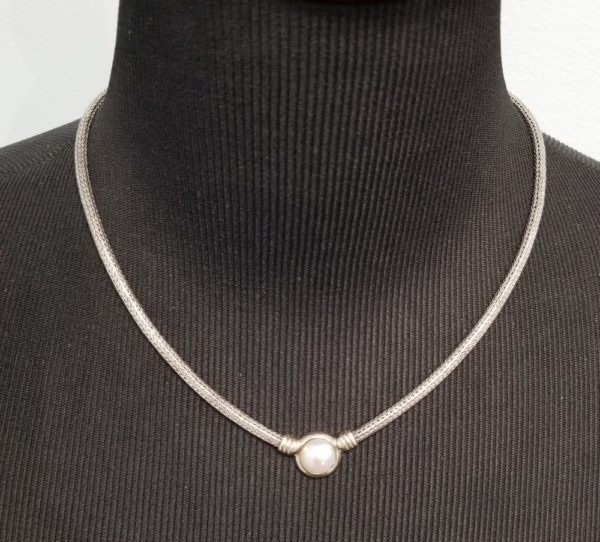Fresh water pearl and sterling silver woven chain necklace on Shop Iowa, Wedding