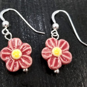 red and yellow ceramic daisy dangle earrings