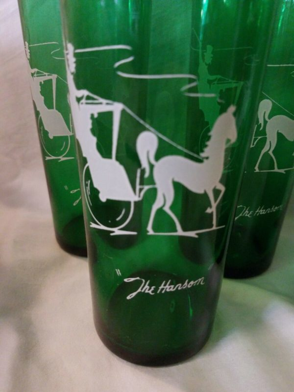 Anchor Hocking FOREST GREEN Set of 4 Glass 16 oz Straight Iced Tea The Hansom