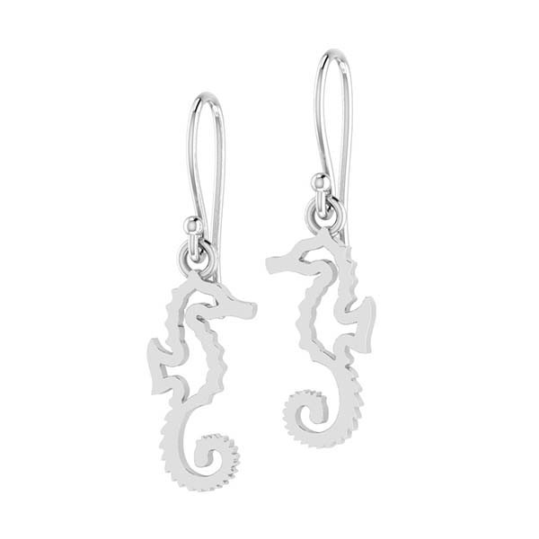 Seahorse outline sterling silver dangle earrings
