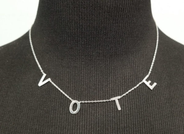 VOTE necklace, sterling silver with adjustable length