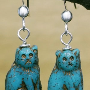 Cat earrings featuring Turquoise color Czech glass sitting cat bead with sterling silver