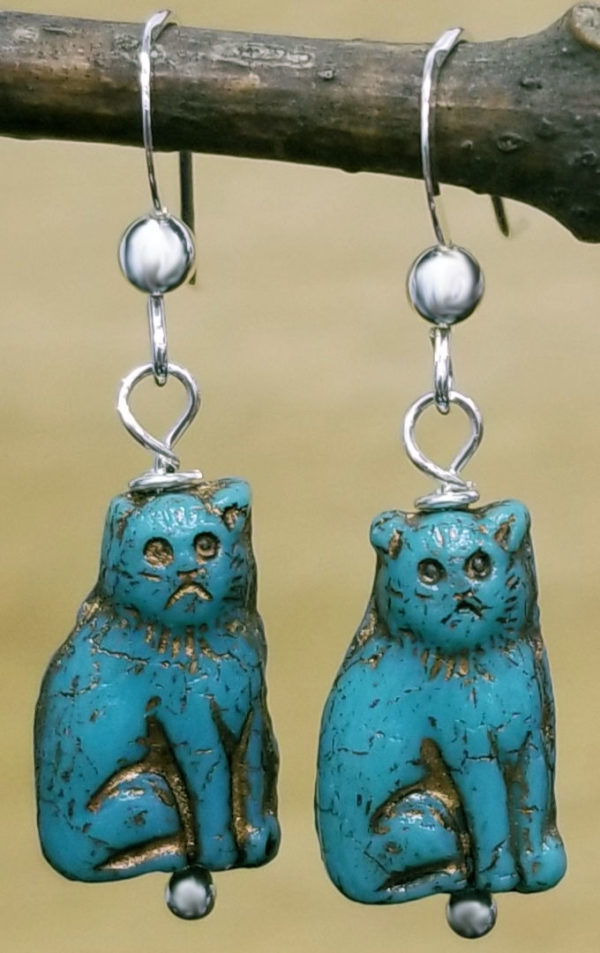 turquoise color Czech glass beaded cat earrings