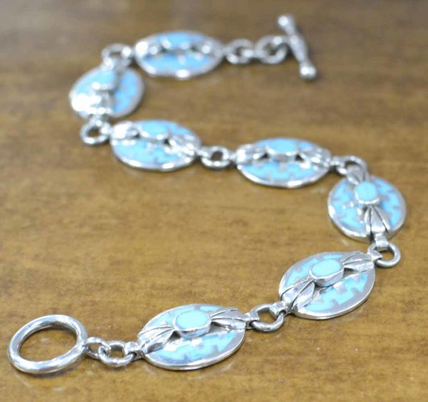 Inlaid Blue Turquoise and sterling silver bracelet on Shop Iowa, December birthstone