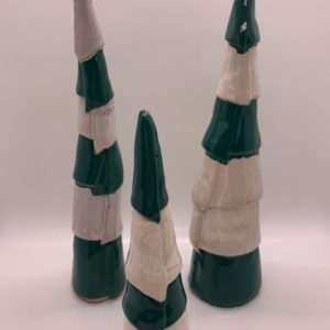 Set of 3 hand-built ceramic trees with green and white stripes