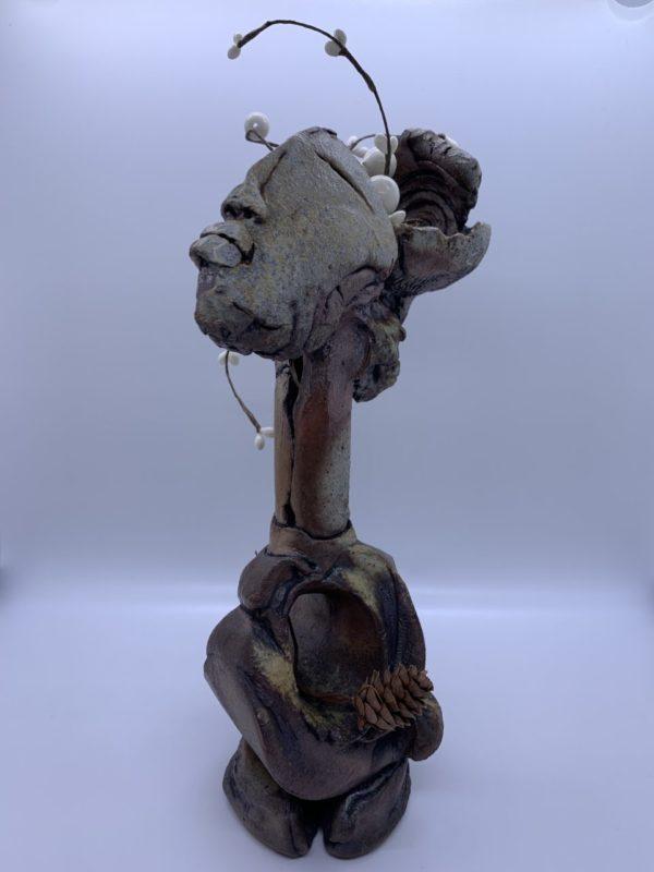 Ceramic figurative sculpture, atmospherically fired
