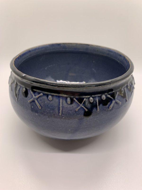 Hand-made ceramic rounded base bowl, glazed blue