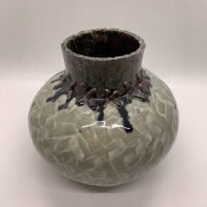 Rounded base, green glazed, ceramic vase