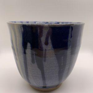 Light and dark blue glazed ceramic vase